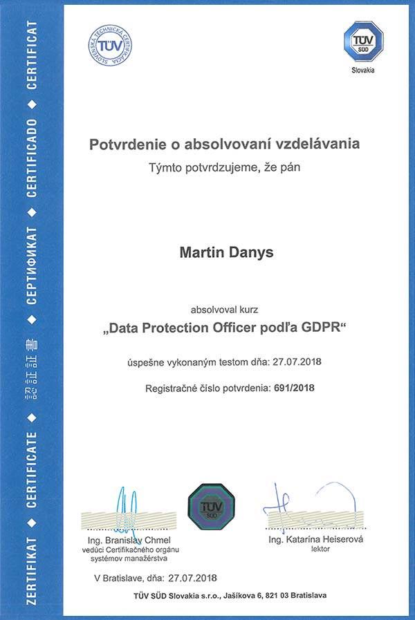 Vypracovanie GDPR projektu certifikát